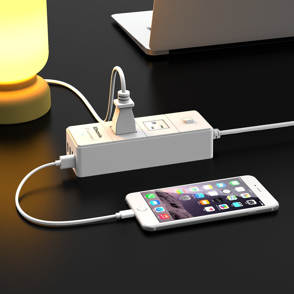 iDsonix® Traveling 1250W 2 Outlet Surge Protector Power Strip with 20W 4 Ports USB Charger for iPhone 7/7 plus, iPad Air 2/Mini 4, Samsung Galaxy S6/S6 Edge/Note 5, HTC, Nexus and More